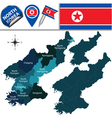 North Korea map with named divisions vector image vector image