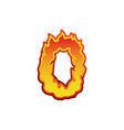 number 0 fire flames font zero tattoo alphabet vector image vector image