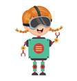 of robotic girl vector image vector image