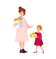 pregnant woman carrying shopping bag with fruits vector image