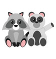 raccoon and bear cartoon design vector image vector image