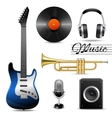 Realistic music icons set vector image vector image