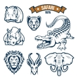 Safari hunting club animals icons set vector image vector image