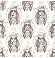 seamless pattern with beautiful female portraits vector image vector image