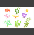 set of cartoon underwater plants seaweeds and vector image vector image