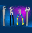 set of hand tools on a polygonal background vector image vector image