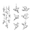 set of origami birds sketch vector image