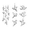 set origami birds sketch vector image