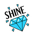 shining blue diamond gemstone retro style sticker vector image