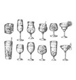 sketch cocktails hand drawn glasses with vector image