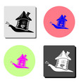 snail with house flat icon vector image vector image