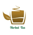 Steaming cup of herbal tea icon or label vector image vector image