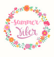 summer viber lettering in floral circle vector image vector image
