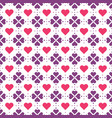 violet flowers and red hearts pattern vector image vector image