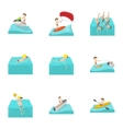 Water stay icons set cartoon style vector image vector image