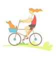 woman riding bicycle with pet happy together vector image vector image