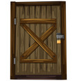 wooden door with lock vector image vector image