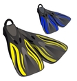 Yellow and blue fins Element of diving suit vector image vector image