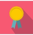 Yellow blank award rosette with blue ribbon icon vector image