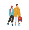 young happy romantic couple during traveling vector image