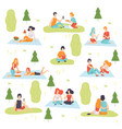 young men and women having picnic set people vector image