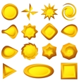 Buttons different forms gold set vector image