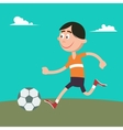 Happy Boy Playing Football with Ball vector image