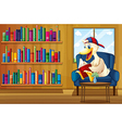 A duck reading a book at the sofa vector image vector image
