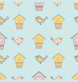 bird spring cartoon seamless pattern vector image