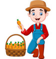 cartoon little farmer harvesting carrots vector image vector image