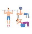 Cartoon sport gym people vector image vector image