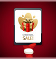 christmas sale banner with tablet vector image vector image