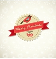 Christmas vintage background with bird sticker and vector image