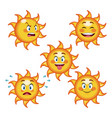collection funny sun differents face cartoon vector image vector image