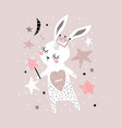 cute bunny girl with crown and magic wand vector image