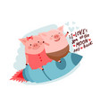 cute cartoon pig flying on a vector image vector image