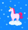 cute pink unicorn stands on a cloud vector image