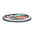 drawn fish on a plate fresh health food vector image