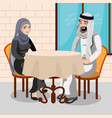 eastern people having dinner in restaurant vector image vector image