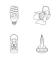 economy lamp searchlight kerosene lamp candle vector image