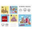 europe travel colorful composition vector image vector image