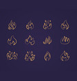 fire flat line icons flame shapes silhouette vector image vector image