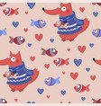 fish fox valentines day seamless pattern vector image vector image