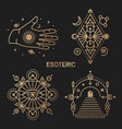 gold esoteric symbols thin line geometric vector image vector image