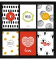 hand drawn collection greeting cards vector image