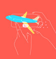 hand phone buying flight tickets coral vector image vector image
