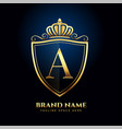 letter a crown golden logo luxury style concept vector image vector image