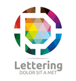 Logo Abstract Lettering P Rainbow Alphabet Icon vector image vector image