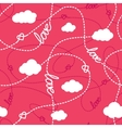 Love Hearts and Clouds Seamless Pattern vector image vector image