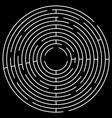 Maze Circle White Maze on Black Background vector image